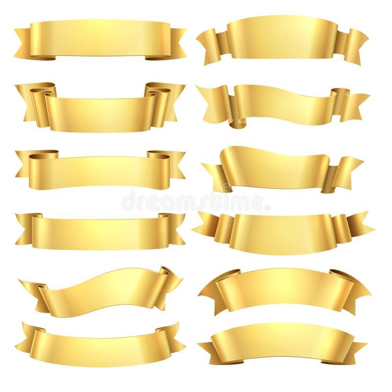 guld- band Lyckönskanbanerbeståndsdel, dekorativ form för gul gåva, guld- annonserande snirkel Realistisk vektor vektor illustrationer