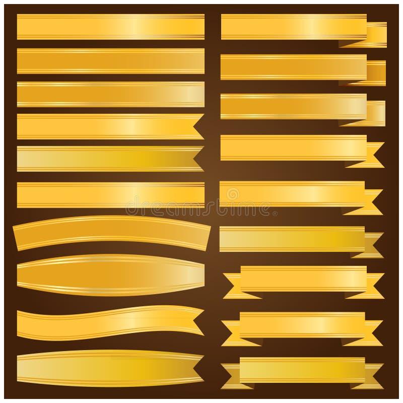 Guld- band- och banervektor royaltyfri illustrationer