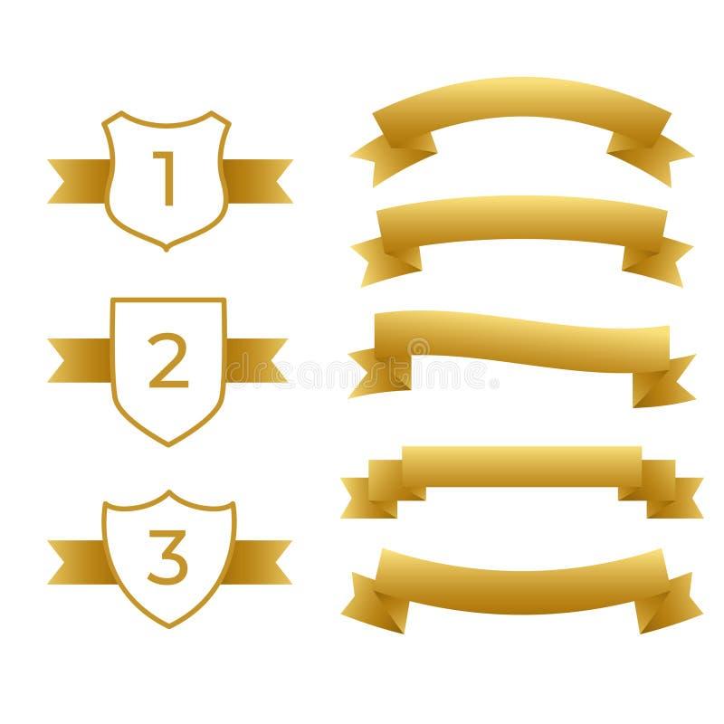 Guld- band och etikettuppsättning vektor illustrationer