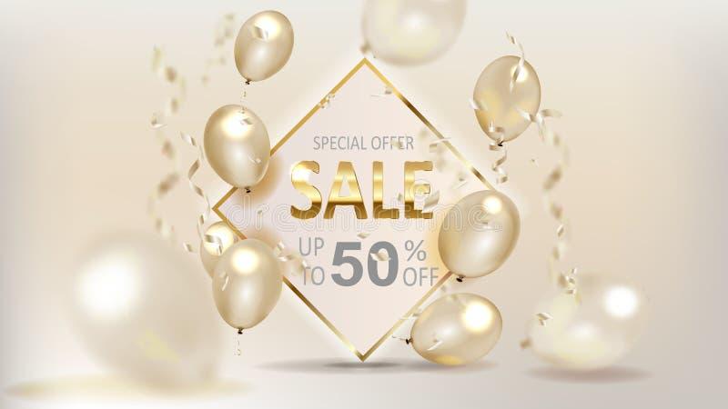 Guld- baner för lager för försäljningsballongbakgrund som annonserar, shopping stock illustrationer