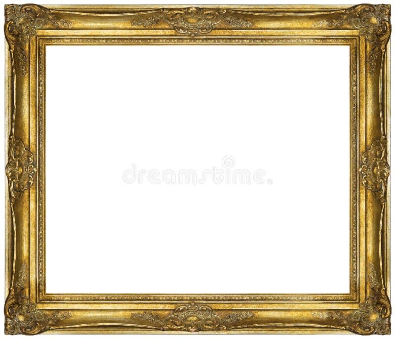 Guld- barock ram som isoleras på vit bakgrund arkivfoto