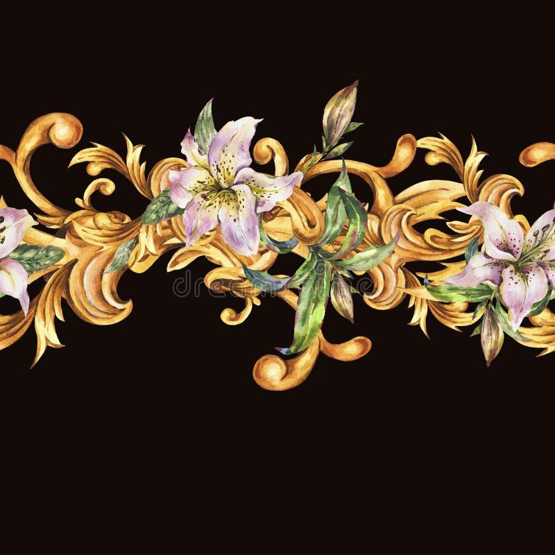 Guld- barock sömlös gräns för vattenfärg med vita kungliga liljor Utdragna guld- snirklar för hand, blommor, sidor stock illustrationer