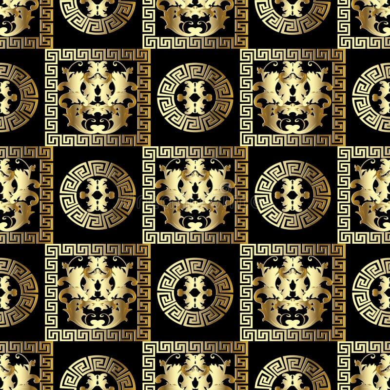 Guld- barock sömlös modell Moderna blom- svarta bakgrundswi royaltyfri illustrationer