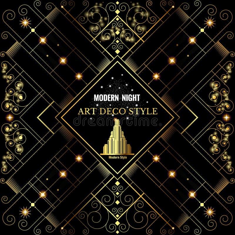 Guld- bckground för art déco med modellen och byggnad stock illustrationer