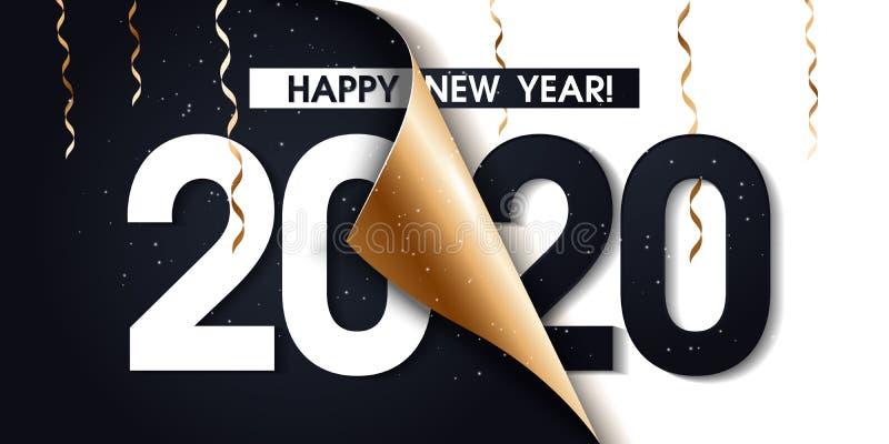 2020 guld- befordranaffisch eller baner för lyckligt nytt år med öppet papper för gåvasjal Ändra eller öppna till begreppet 2020  stock illustrationer