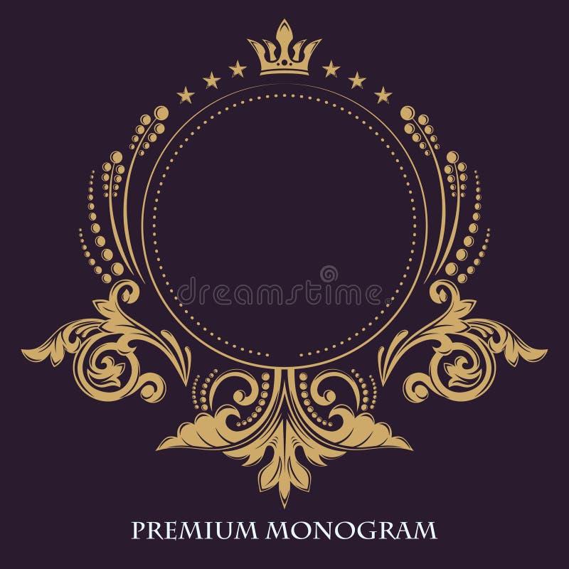 Guld- behagfull ram dekorativ blom- modell Vektoraffärstecken, identitet för hotellet, restaurang, boutique, kafé vektor illustrationer