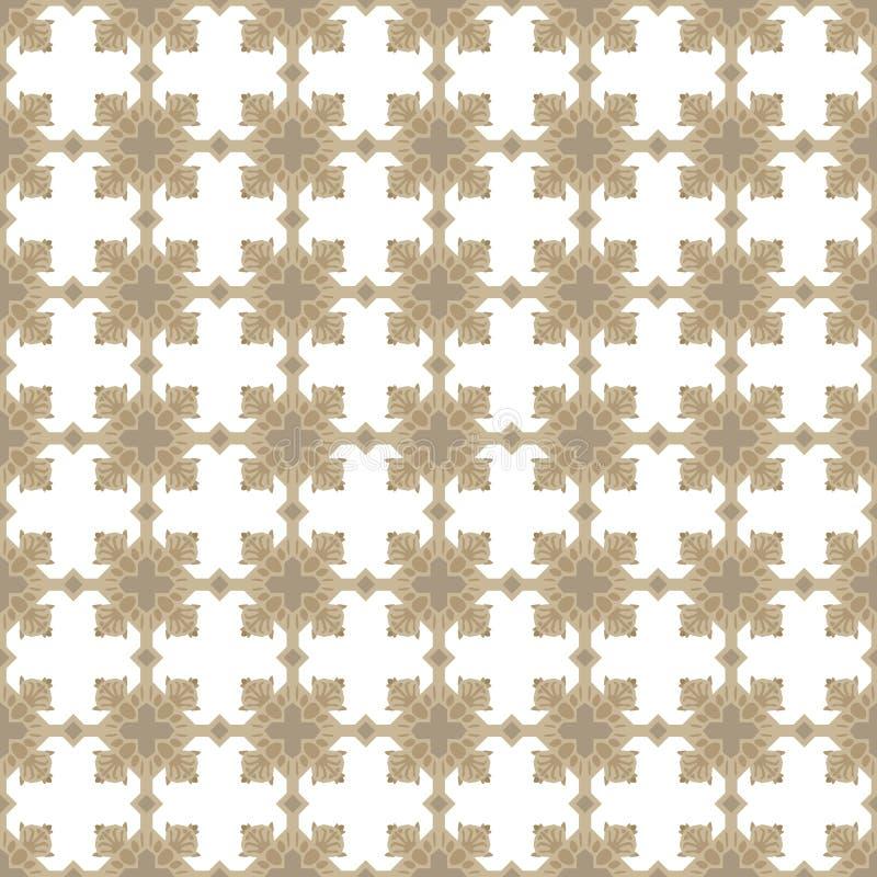 Guld- beige korsade prydnader för ockra fyrkant på sömlös vektormodell för vit bakgrund vektor illustrationer