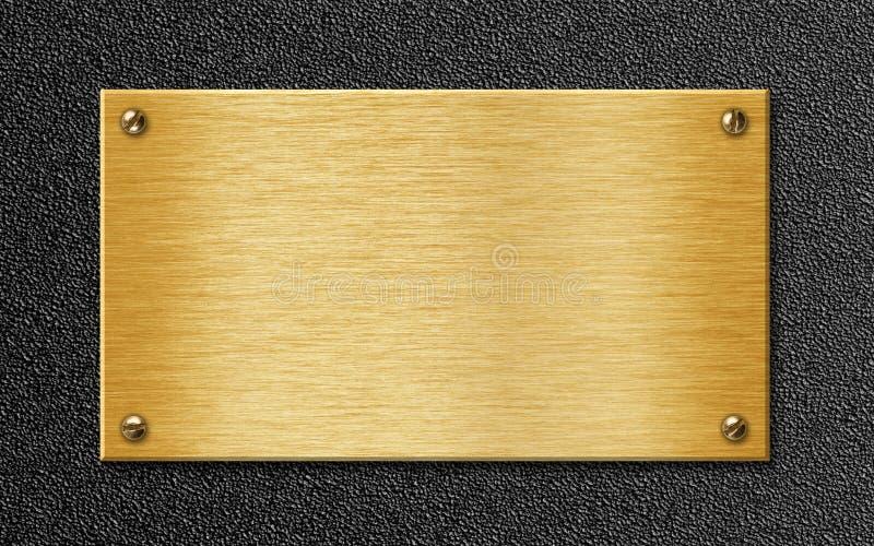 Guld- belägga med metall pläterar på texturerad bakgrund arkivbilder