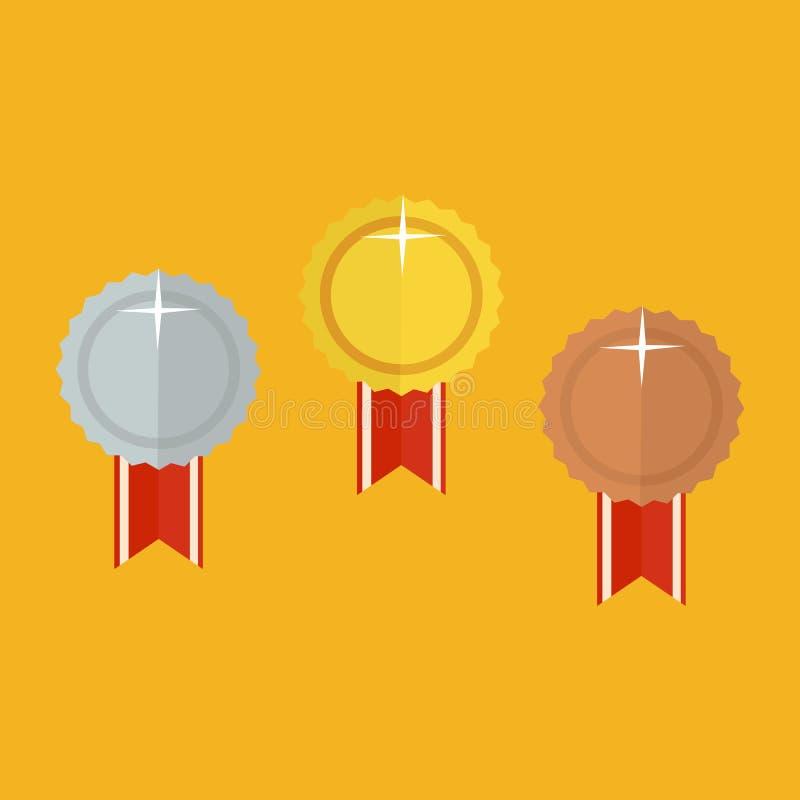 Guld- belöningvinnaresymbol illustration vektor illustrationer