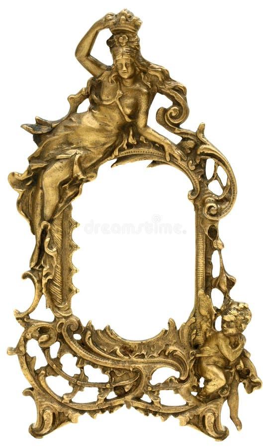 Guld- bildram för kerub royaltyfri foto