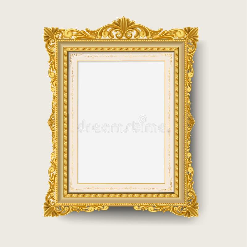 Guld- bildram för tappning vektor illustrationer