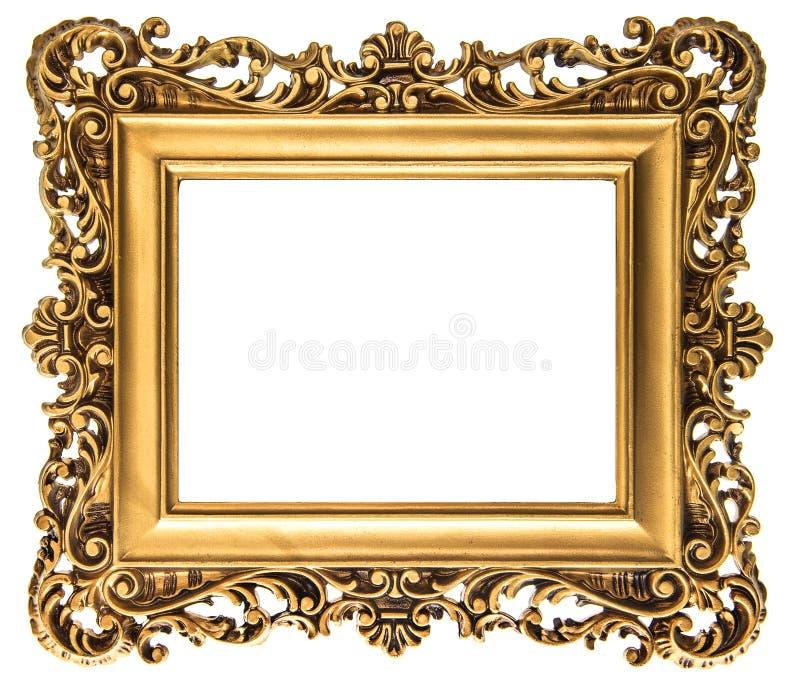 Guld- bildram för tappning som isoleras på vit royaltyfri fotografi