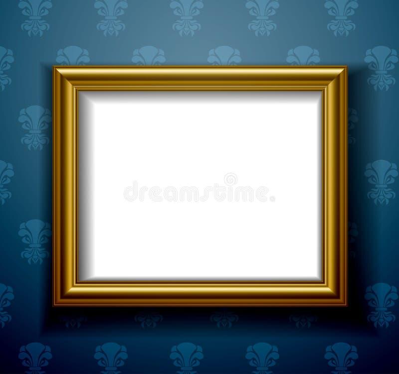 Guld- bildram på väggen vektor illustrationer
