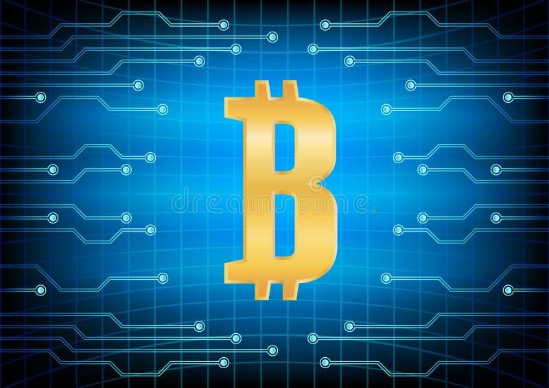 Guld- bit-mynt för Crypto valutaabstraktion Abstrakta faktiska pengar på blå bakgrund Digital matris av att dra av vektor illustrationer