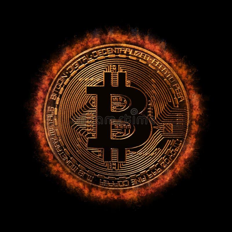 Guld- Bitcoin över mörk bakgrund Affär och faktiskt cryptocurrencybegrepp arkivfoto