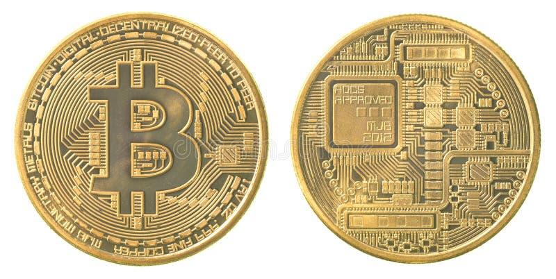 Guld- bitcoin arkivbild