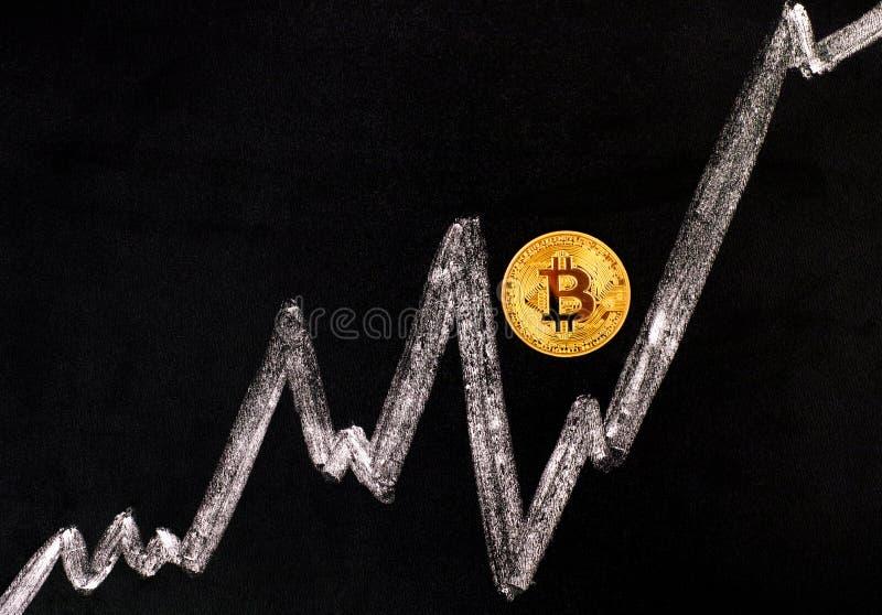 Guld- Bitcoin faktiskt mynt på svart bräde med kritateckningen gr royaltyfri foto