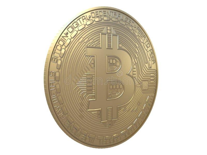 Guld- bitcoin från framdel-, överkant- eller sidosikt som isoleras på en vit tolkning för bakgrund 3d stock illustrationer