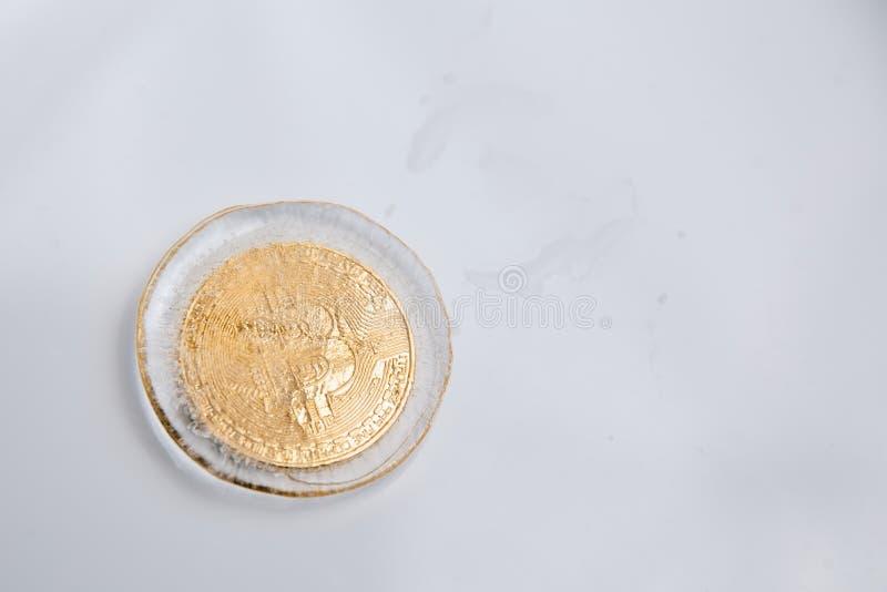 Guld- bitcoin fryste i isen arkivbilder