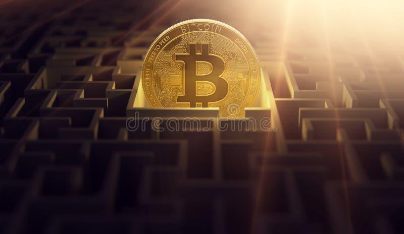 Guld- Bitcoin i den centrala punkten av labyrint Bitcoin som en lösning för finansiella problem framförande 3d vektor illustrationer