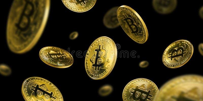 Guld- Bitcoin mynt som flyger på en svart bakgrund royaltyfri foto