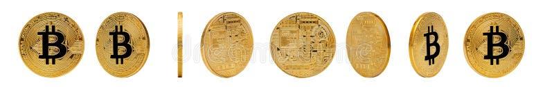 Guld- Bitcoin som isoleras på vit bakgrund arkivbild