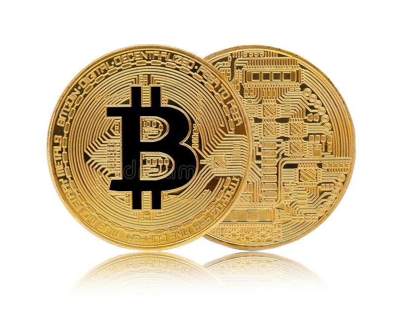 Guld- Bitcoin som isoleras på vit bakgrund royaltyfri foto