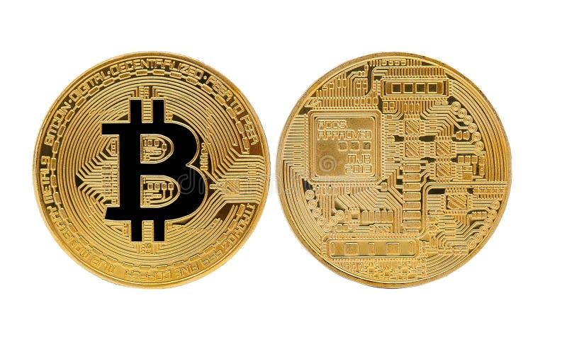 Guld- Bitcoin som isoleras på vit bakgrund royaltyfri fotografi