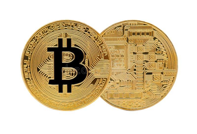 Guld- Bitcoin som isoleras på vit bakgrund fotografering för bildbyråer