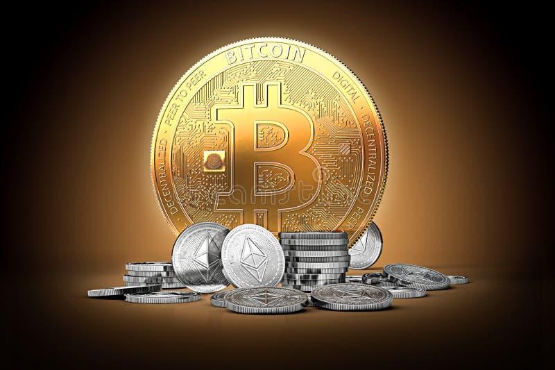 Guld- bitcoin som omges av silverethereummynt på försiktigt tänd mörk bakgrund vektor illustrationer