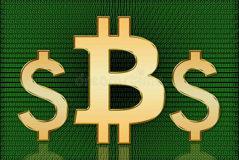 Guld- Bitcoin vs US dollarsymboler - Digital valuta royaltyfri foto