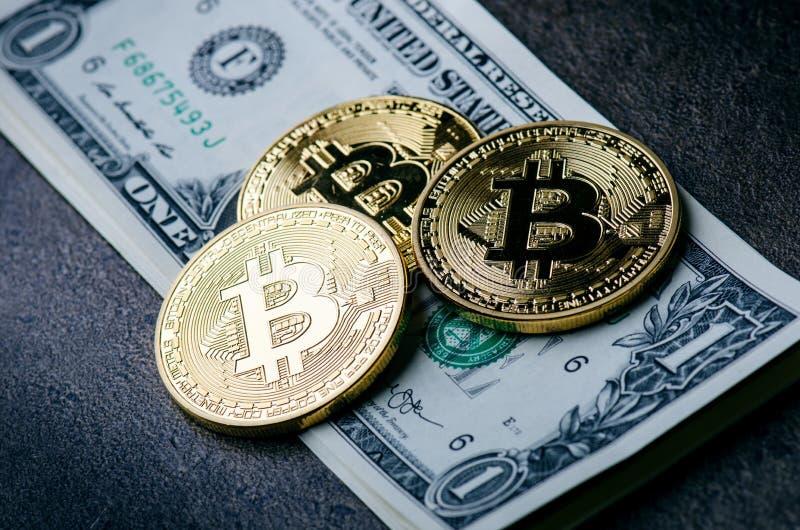 Guld- bitcoinmynt på en pappers- dollarpengar- och mörkerbakgrund med solen Faktisk valuta Crypto valuta nya faktiska pengar arkivbild