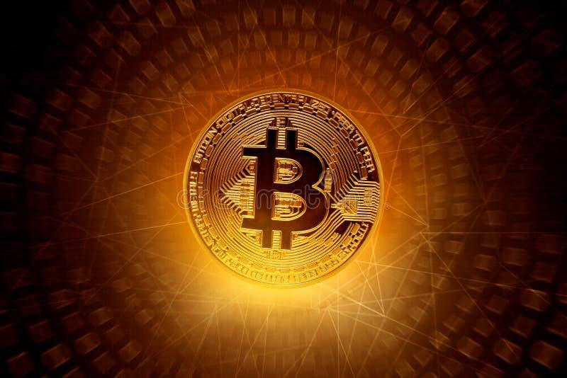Guld- bitcoinmynt på teknologibakgrund royaltyfri bild