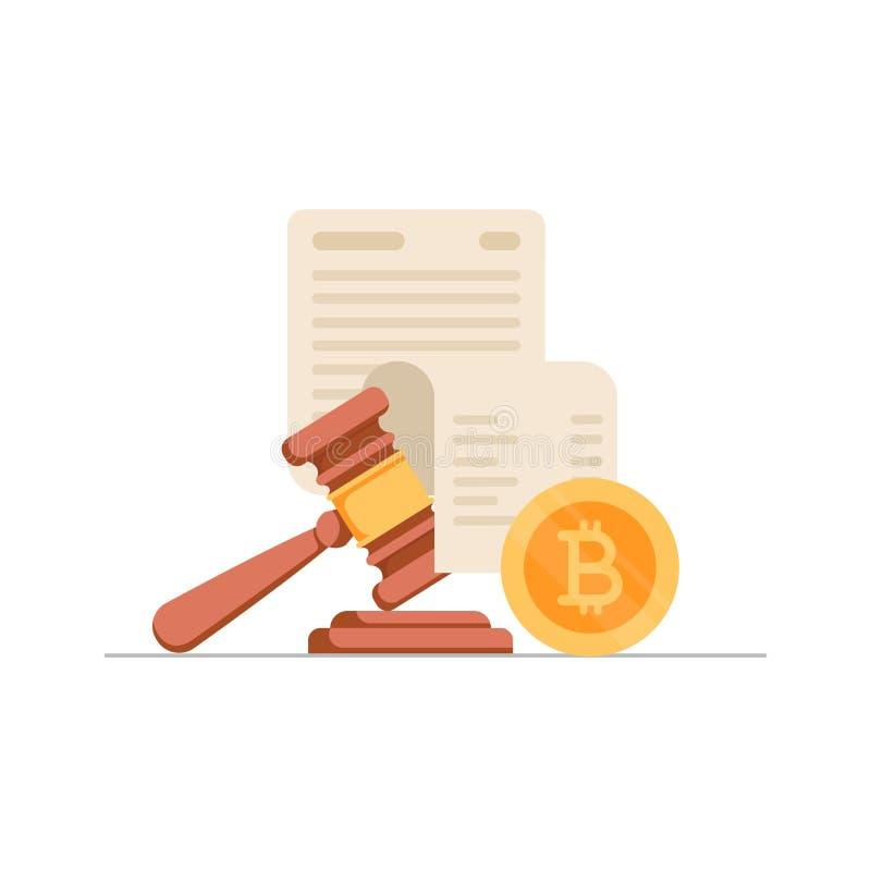 Guld- bitcoinmynt, pappers- ark med text och auktionsklubba Begrepp av cryptocurrencylagstiftning, digital valutalag royaltyfri illustrationer