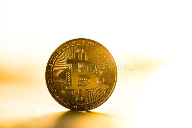 Guld- bitcoinmynt som förläggas på vit bakgrund i ljuset av solnedgången Faktiskt valutasymbol fotografering för bildbyråer