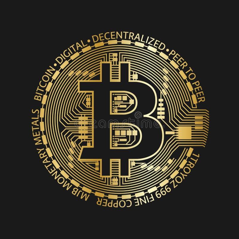 Guld- bitcoinmynt, symbol för crypto valuta för vektor guld- stock illustrationer