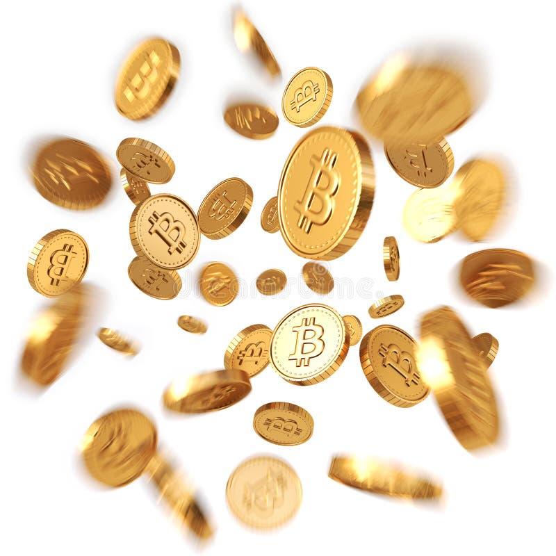 Guld- Bitcoins stock illustrationer