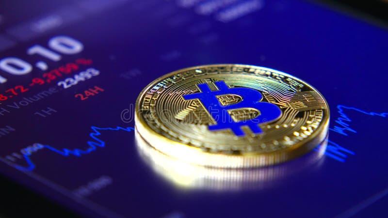 Guld- bitcoins på bakgrunden av ett grafiskt materiel kartlägger Koncentrationen av Crypto-valutan av faktiska pengar arkivbild