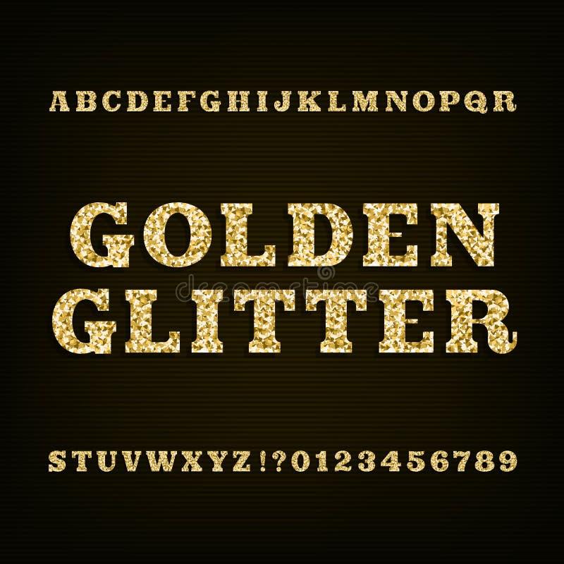 Guld- blänka alfabetstilsorten Tjock skivaseriffen märker nummer och symboler vektor illustrationer