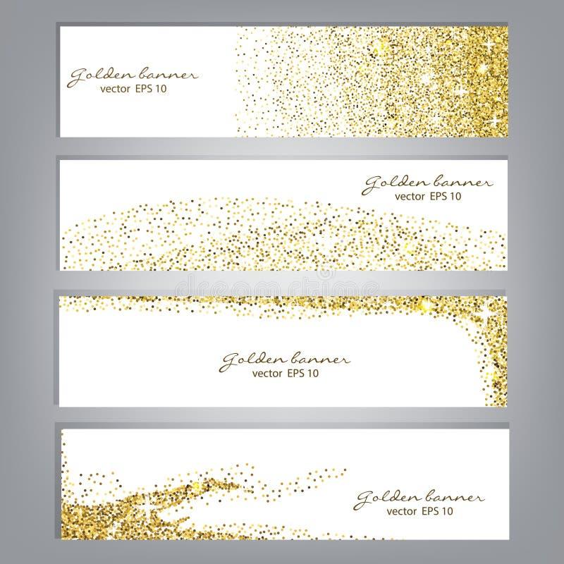 Guld- blänka baneruppsättningen Skinande bakgrunder för glitter Lyxig guld- mall vektor royaltyfri illustrationer