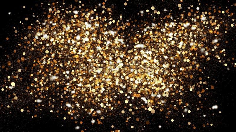 Guld- blänka damm på svart bakgrund Moussera färgstänkillustrationen med guld- pulver Bokeh glödande magisk misteffekt royaltyfri illustrationer