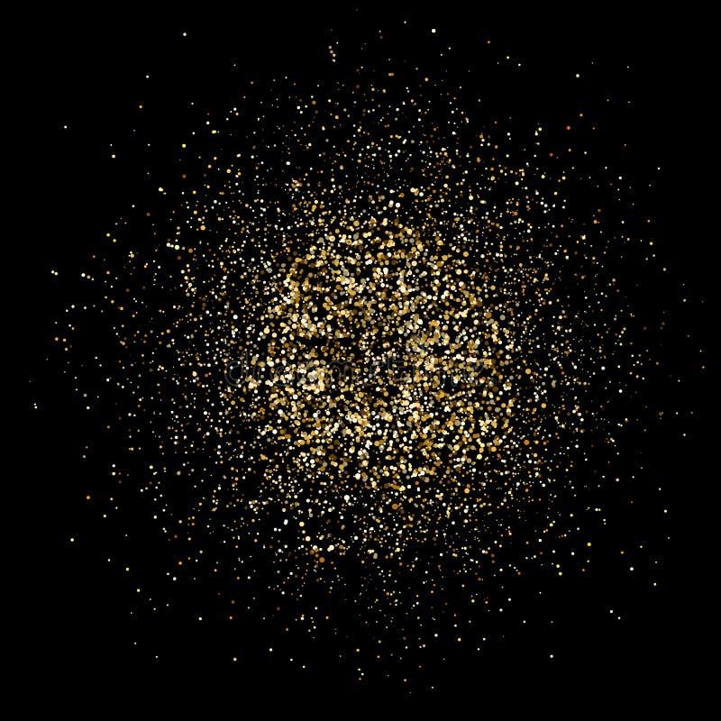 Guld- blänka explosionen Ljus dammfärgstänk Guld blänker partiklar plaskar Mousserande fyrverkeri på svart bakgrund Vektorillu royaltyfri illustrationer