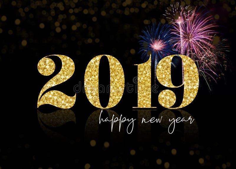 Guld- blänka 2019 fyrverkerier för lyckligt nytt år vektor illustrationer