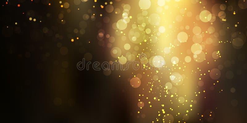 Guld- blänka gnistrandestardust på svart bakgrund med bokehljus stock illustrationer
