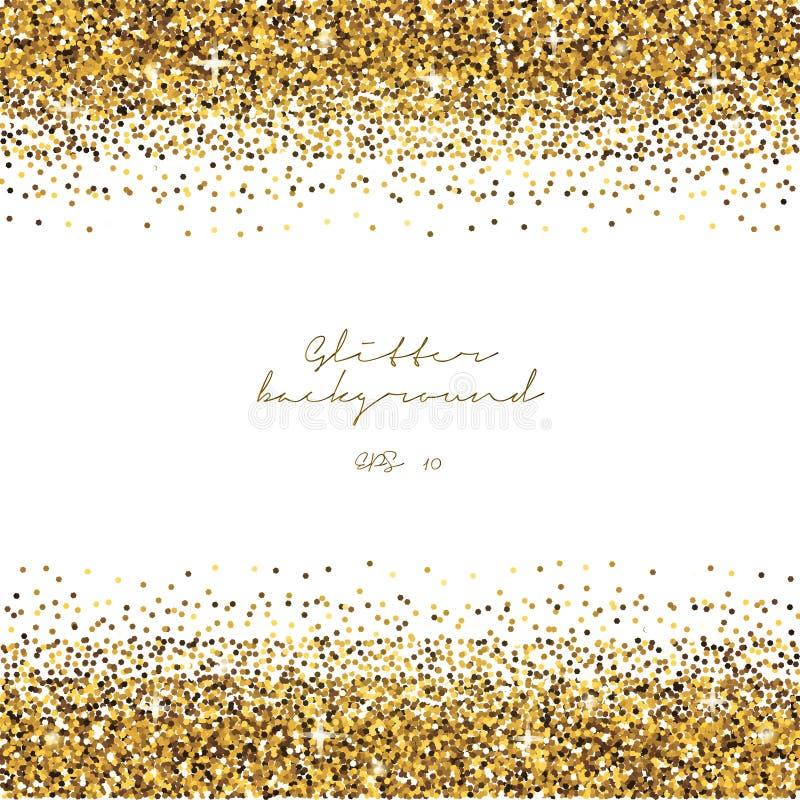 Guld- blänka gränsbakgrund Skinande bakgrund för glitter Lyxig guld- mall vektor vektor illustrationer