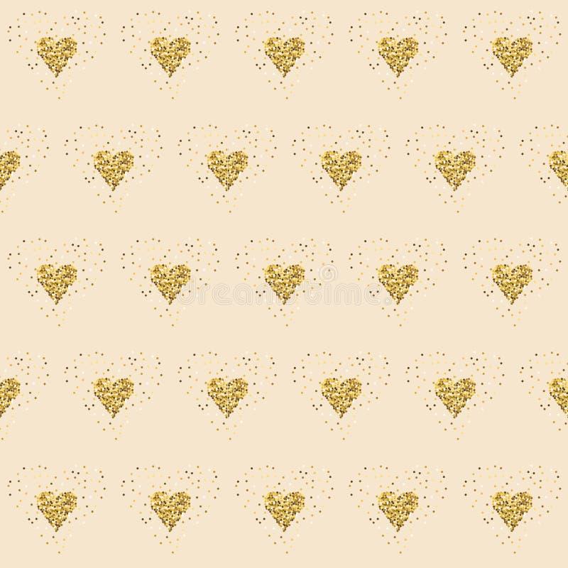 Guld- blänka hjärtor på rosa färger belagd med tegel abstrakt bakgrund Skinande bakgrund för ändlöst glitter Passande valentin da stock illustrationer