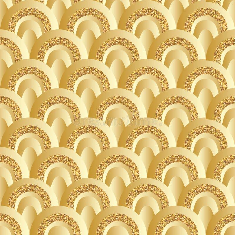 Guld- blänka modellen för halv stil för cirkeln den sömlösa vektor illustrationer
