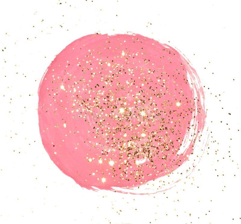 Guld- blänka på abstrakt rund rosa vattenfärgfärgstänk på vit bakgrund royaltyfri illustrationer