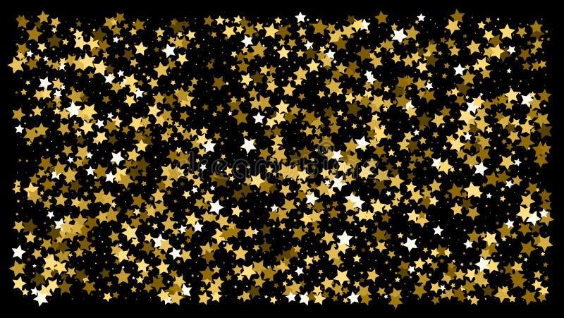 Guld- blänka stjärnakonfettier på en svart bakgrund arkivfoto