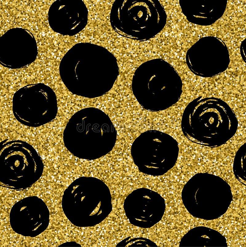 Guld- blänka textur med sömlösa cirklar för handattraktionsvart stock illustrationer
